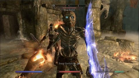 Bound sword spell with a fire one ready to go in left hand.  And nasty draugr.