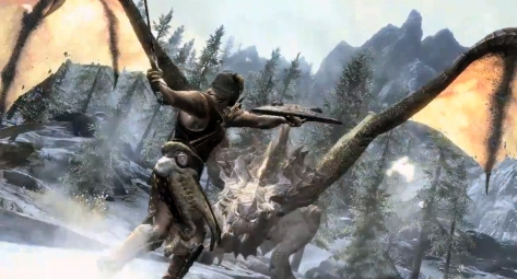 Fighting a dragon in Skyrim.  From http://www.industrygamers.com/news/ps3-skyrim-its-not-nearly-as-bad-as-it-seems/