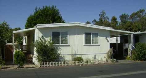 A manufactured home in Southern California, with more trees about it than usual.