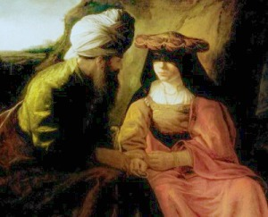 Judah and Tamar, of the Rembrandt School (Public domain).
