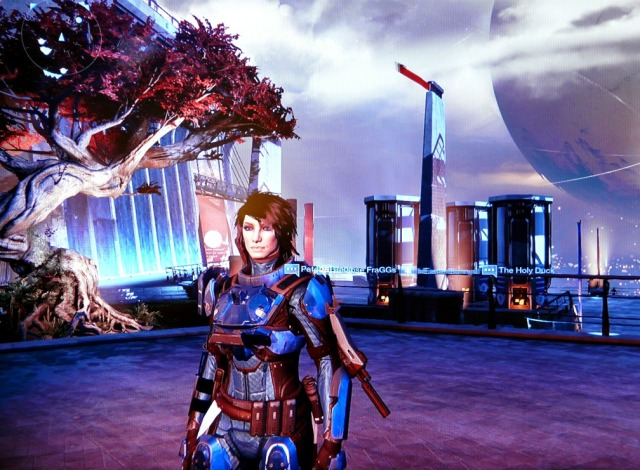 Me, Amenta, at The Tower (yes, I have legendary blue armor on - a bright thing in my new life).