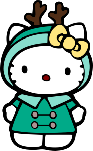 A cute north-inspired Hello Kitty.  Apparently this was made for a mobile app by (c) Sanrio.