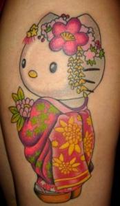 Hello Kitty tatoo, in a feminine traditional Japanese look.