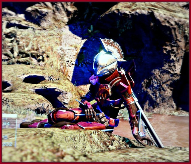 Me with my new helmet (Helm of Saint-14) and Queens Guard Plate armor, on Venus.