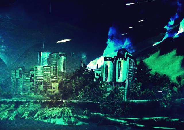 """Venus, how beautiful it was; the manmade there didn't take over and overwhelm the natural.  But Venus' nature can't be tamed.  White-blue """"lava"""" can be seen behind the buildings as """"comets"""" fly through the air.  I call this my Venus at night postcard."""