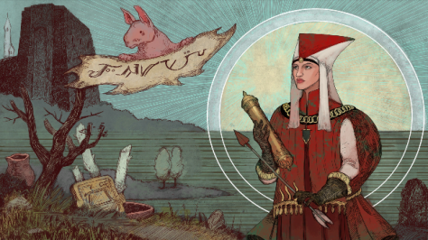 The fun and wonderful propaganda art of DA Inquisition, this time depicting Leliana as the next Divine. (c) Bioware