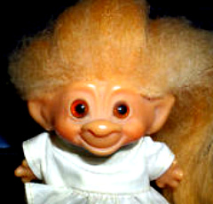 Bleached hair often turns out orange, like this doll's.