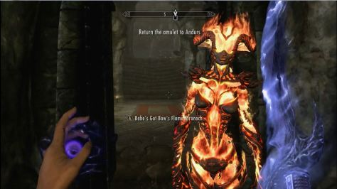 My fire atronach, with room at left to add text. Notice that she seems to be smiling, at least mildly. This is more than you can make your own character do . . .