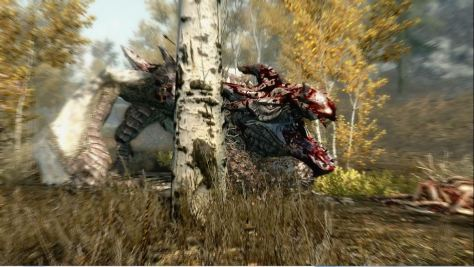 Skyrim, bloodied dragon