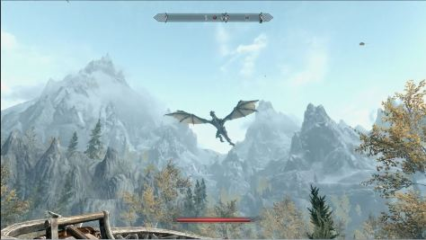 Skyrim environment with flying dragon