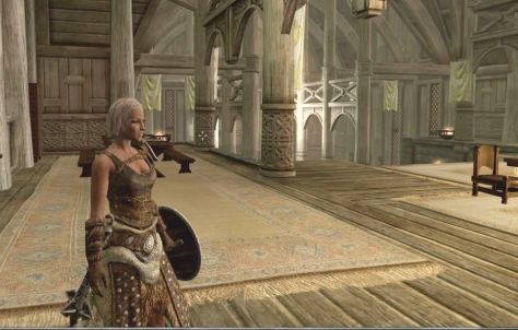 Skyrim, a female Dragonborn in Dragonsreach