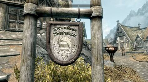The Drunken Huntsman sign, Skyrim