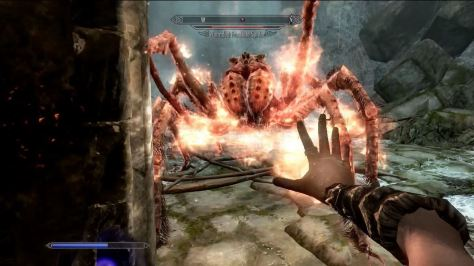 Skyrim, giant frostbite spider getting flamed