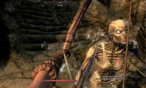 Bald female draugr in nighty