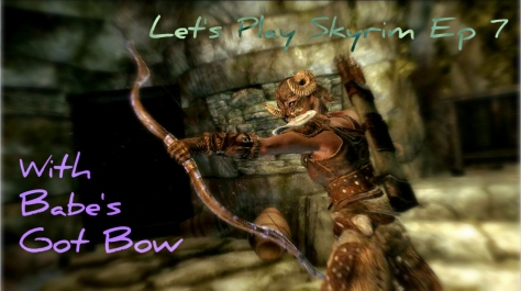 Skyrim, female Dragonborn using bow with fear enchantment