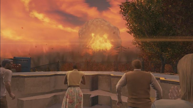 Fallout 4, descending into vault during nuclear strike