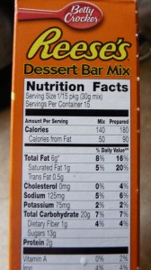 Reese's No Bake Bar mix nutrition